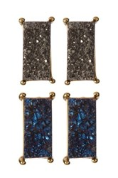 Baublebar Meteorite Bar Druzy Stud Earrings Set Metallic