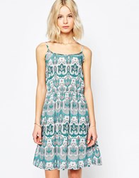 Brave Soul Paisley Print Sun Dress Jade Green