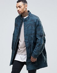 Asos Lightweight Parka Jacket In Camo Print Khaki Green