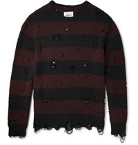 Takahiromiyashita Thesoloist Oversized Distressed Striped Wool And Cashmere Blend Sweater Burgundy