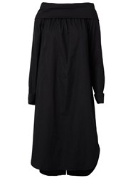 Dries Van Noten Fold Detail Off Shoulder Shift Dress Black
