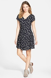 Button Front Skater Dress Online Only Navy Print