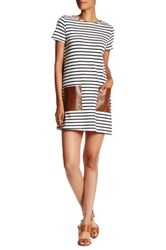 Soprano Faux Leather Pocket Striped Shift Dress 004 Off White