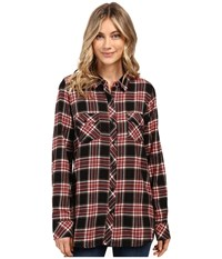 Volcom Cozy Day Long Sleeve Top Black Combo Women's Long Sleeve Button Up