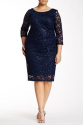 Marina 3 4 Length Sleeve Lace And Sequin Dress Plus Size Blue