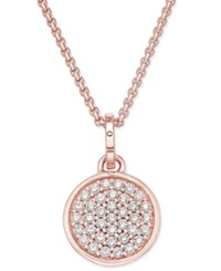 Thomas Sabo Wheel Of Karma Sparkling Circles White Zirconia Pendant Necklace In 18K Rose Gold Plated Sterling Silver