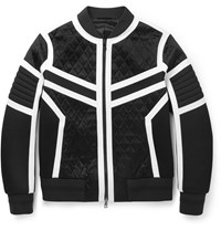 Neil Barrett Quilted Satin Neoprene And Jersey Bomber Jacket Black