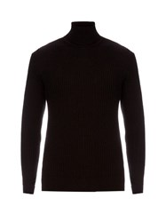 Jil Sander Wool And Silk Blend Roll Neck Sweater Black
