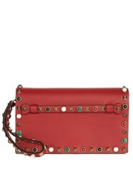 Valentino Rockstud Rolling Small Leather Clutch Red