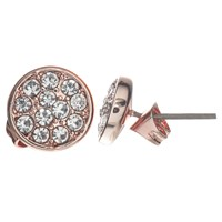 John Lewis Glass Crystal Pave Round Stud Earrings Rose Gold