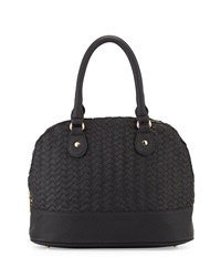 Neiman Marcus Woven Dome Satchel Bag Black