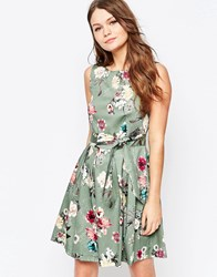 Closet Skater Dress In Floral Print With Bow Tie Waist Green Cream