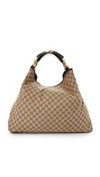 Wgaca Gucci Canvas Horsebit Hobo Previously Owned Brown