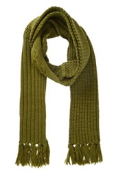 Rogue Multi Knit Wool Fringe Scarf Green