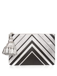 Anya Hindmarch Diamonds Georgiana Large Leather Clutch Green Silver