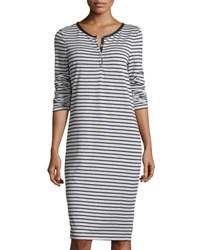 Max Studio Striped Long Sleeve Dress Natural