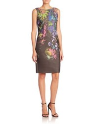 Rickie Freeman For Teri Jon Floral Print And Stripes A Line Dress Black Multi