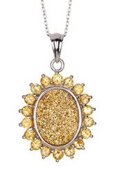 Olivia Leone Sterling Silver Golden Druzy And Citrine Sunburst Pendant Necklace Yellow