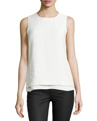 Vince Layered Jacquard Sleeveless Shell Off White