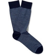 Marcoliani Striped Merino Wool Blend Socks Storm Blue