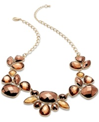 Style And Co. Necklace Gold Tone Bronze Beaded Frontal Necklace