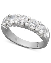 Macy's Certified Five Diamond Station Band Ring In 14K White Gold 2 Ct. T.W.