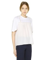 Chloe Cotton Jersey And Silk Crepe T Shirt