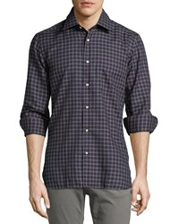 Luciano Barbera Lightweight Check Woven Shirt Navy Orange