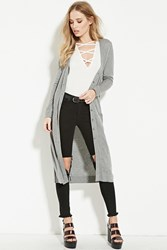 Forever 21 Button Up Longline Cardigan Heather Grey