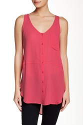 Lush Sleeveless Front Button Tunic Pink