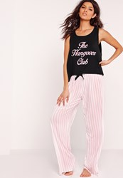Missguided The Hangover Club Pyjama Set Black Black