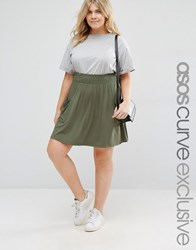Asos Curve Skater Skirt With Shirred Waist And Pockets Khaki Green