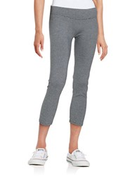 Kensie Striped And Cropped Performance Leggings Grey