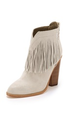 Cynthia Vincent Native Suede Fringe Booties Winter White