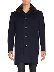 Saks Fifth Avenue Wool And Cashmere Blend Coat Navy