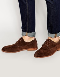 New Look Derby Shoe In Faux Suede Darkbrown
