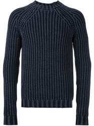 Tod's Ribbed Knit Jumper Blue