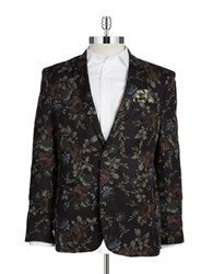 Tallia Orange Floral Two Button Blazer Black