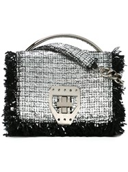Msgm Fringe Trim Woven Satchel Bag Metallic