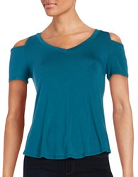 Design Lab Lord And Taylor Cold Shoulder Tee Teal