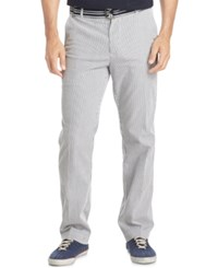 Izod Men's Belted Seersucker Pants Midnight
