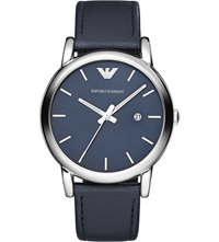 Emporio Armani Ar1731 Stainless Steel Leather Watch Blue