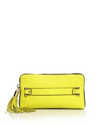 Milly Astor Leather Clutch Citron