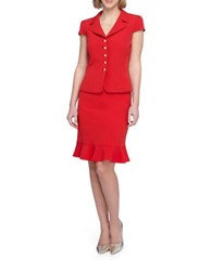 Tahari By Arthur S. Levine Petite Notch Collar Short Sleeve Jacket Ruffle Skirt Suit Red