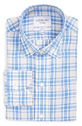 Ledbury Men's 'Haviland' Trim Fit Plaid Linen Dress Shirt