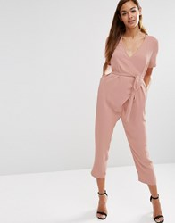 Asos Jumpsuit With Wrap And Self Tie Salmon Pink