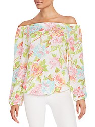 Saks Fifth Avenue Red Printed Off The Shoulder Top Multi