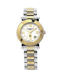 Charriol Parisii Large Round Yellow Gold Plated Watch 42Mm Silver Gold