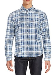 Joe's Jeans Relaxed Fit Plaid Cotton Sportshirt White Blue