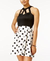 Crystal Doll Juniors' Cutout Polka Dot Fit And Flare Dress Black White